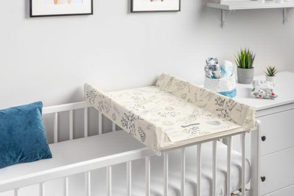 Przewijak usztywniony na łóżeczko Sensillo nadruk Botanical Beżowy