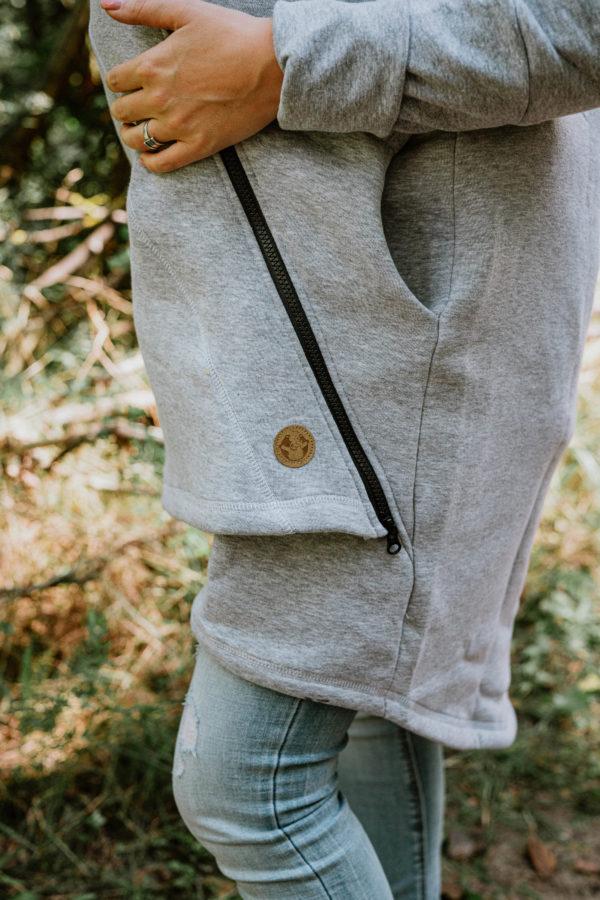 Asymetryczna Bluza Szary Melanż z Pawi Ogon Fantazja Lenny Lamb rozmiar M